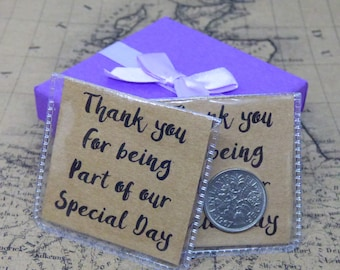 Wedding Sixpence Favour Gift Personalised Message Genuine Six Pence Coin Thank You