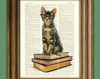 Book Cat in Cats Eye Glasses. Early Reader Kitten illustration beautifully upcycled dictionary page book art print