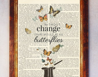 Dictionary Quote Art , Butterflies Wall Art, Butterflies Art Print, Book Page Art, Dictionary Art Quote, Life Quote Print, Motivation Print