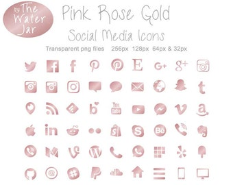 Metallic Pink Social Media Icons for Commercial Use in Pink Rose Metallic Finish. Social Media Buttons, Website & Blog Icons