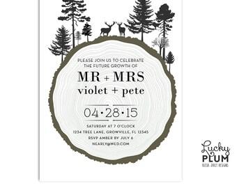 Black and White Engagement Invitation / Tree Ring Wedding Invitation / Engagement Invitation / Forest Wedding Invitation / Deer Invitation