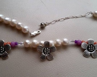 Strand of pearls handmade flower necklace