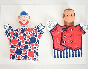 6 Vintage Plastic Hand Puppets Clowns and Monkeys