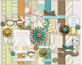 Digital Scrapbooking Mini Kit for dads, fathers, grandfathers - Daddy-O Digital Mini Kit- INSTANT DOWNLOAD
