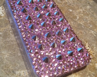 Spiked rhinestone iPhone case made to order