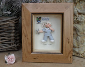 PERSONALISED DENTIST GIFT, Dental Nurse, Framed Polymer Clay Characters,  Retirement, Promotion, Birthdays M or F