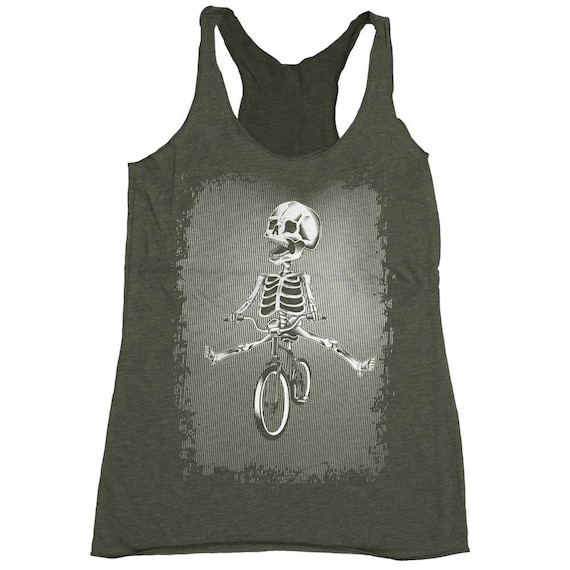 Halloween Bicycle Shirt - Womens Bike Shirt - Skeleton Riding a Bike Hand Screen Printed on a Womens Tank Top
