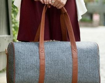 Monogrammed Wool Herringbone Duffle | Personalized Weekend Tote