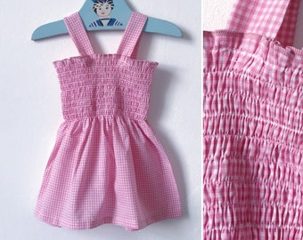 Vintage baby dress baby girls dress 1970s pink gingham with smocking smocked dress, summer dress Vintage baby clothes age 1 year age 2