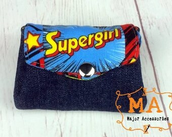 Character Supergirl And Denim Mini Accordion Coin Purse Wallet