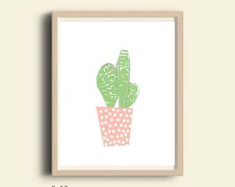 Nursery decor, PRINTABLE, nursery wall art, Kids poster, nursery poster, poster kids, kids room poster, kids decor, cactus, pink, art print