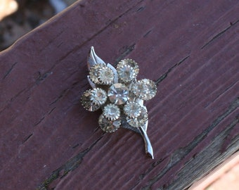 Vintage Brooch Pin Diamonds Silver Leaf