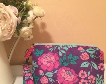 Essential Oil Bag // Colorful Purple Floral Design // Essential oil storage // Makeup bag // Art Supply Bag // LARGE Wristlet