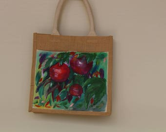 Hand painted Apples Tote