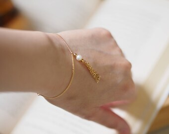 14k Gold Plated Pearl Bracelet