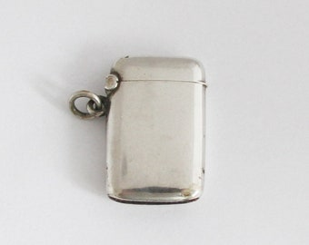 Petite French Vesta Case 800 Silver Match Safe Pill Box Pendant