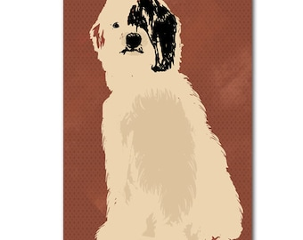 An old english sheepdog in brown color Silhouette for Dog lover Fine art print wall decor illustration pet animal