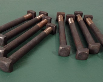 """Vintage Bolts, Industrial Bolts, Machine Bolts, Nuts and Bolts, Salvaged Hardware - Lot of 8 - 7"""" Bolts with Nuts"""