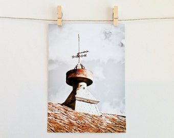 5x7 photo card, weather vane, French farm house, rustic, invitation, announcement, birthday, rust, blue, color, photography