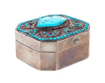 Silver & Gem-set Box w/Turquoise Rose cut Garnets-Just Stunning!