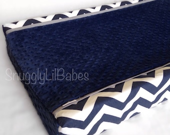 Navy chevron, grey, changing pad cover with navy minky dot