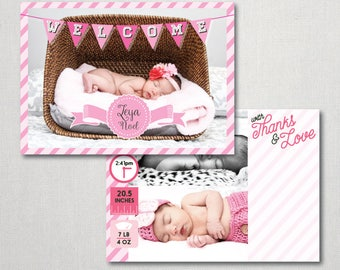 Pink Stripes Birth Announcement - Birth Announcement - Pink Stripes - Birth - Announcement - Pink - Stripes - Photo Card - Thanks and Love