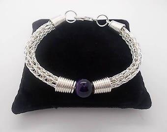 Viking Knit Bracelet - Ladies Woven Bracelet - Silver VIiking Bracelet - Beaded Jewellery Handmade - Silver Bracelet For Women