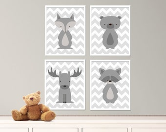 "Printable Fox, Bear, Raccoon and Moose Nursery Art Print Set, White and Gray Baby Nursery Art Set of 4 -8x10""Digital Instant Download - S293"