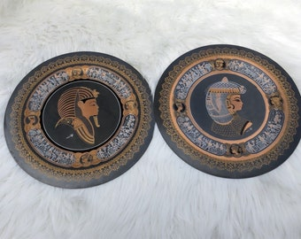 Egyptian Plate Decorative -King Tut & Ankhesenamun- Brass Copper Silver Hand Made Mixed Metals Vintage Wall Decor Egypt