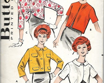 1950's Butterick 8939 Misses Quick 'N Easy Jacket Sewing Pattern, Size 12, Bust 32
