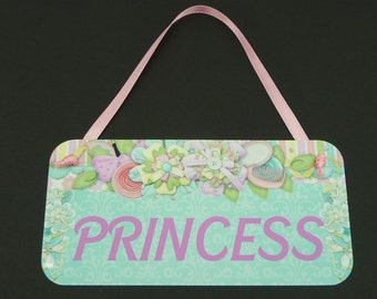 PRINCESS SIGN Cute Aqua Metal Sign Photo Prop Daughter Girls Room Decor Grandbaby Pastel Girly Door Hanger Pink Ribbon