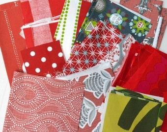 Red Fabric Scraps Bundle, Carlo, Anderson, Zig Zag, Cass Holiday Folks, Asian Toile, Aiko, Alyssa, Marimekko Home Decor REMNANT CUTS