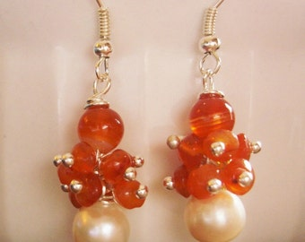 Natural warm orange Carnelian cluster gemstone beaded earrings with white freshwater pearl
