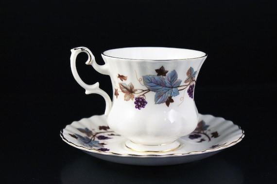 Royal Albert Demitasse Teacup, Lorraine, Leaf and Grape Pattern,  Montrose Shape, Fine Bone China