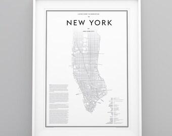 Studio Layers Guide to New York City Manhattan Map black white poster