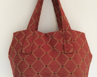 Stylish handcrafted crimson handbag - fabric purse - everyday bag - boho handbag