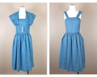 Vintage 1940s / 1950s Cotton Summer Dress, Blue with White Polka Dots, Sun Dress with Jacket Small Size, Casual to Dressy Summer Wedding
