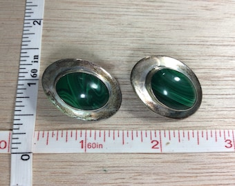 Vintage Malachite 925 Sterling Silver 15.6g Clip On Earrings Needs Cleaned Used