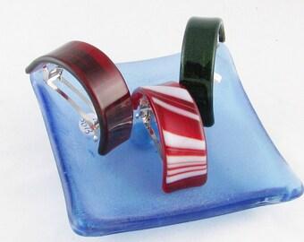 Ponytail holder - barrette - Red & White striped, RED or GREEN Barrette - French ponytail barrette - Holiday barrette  (3828-3874 -4342)