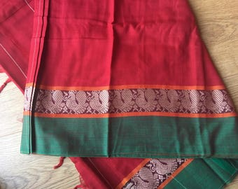 Red saree • cotton saree • Indian saree • saree • Indian wedding • Indian fashion
