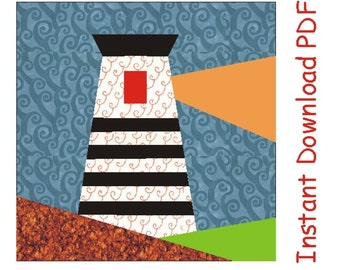Ahoy Lighthouse, Paper pieced Pattern, quilt block INSTANT DOWNLOAD PDF, sea pattern