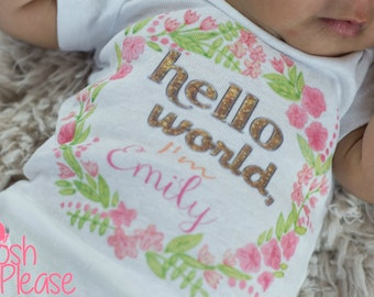 Newborn Girl Take Home Outfit Hello World Outfit Baby Girl Outfit Newborn Girl OnePiece Coming Home Outfit