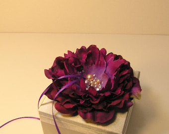 Custom Wedding ring bearer box flower with Swarovski  Pearls and Swarovski  Crystals -Custom order.