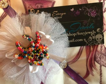 White Candy Spider Hair Bow