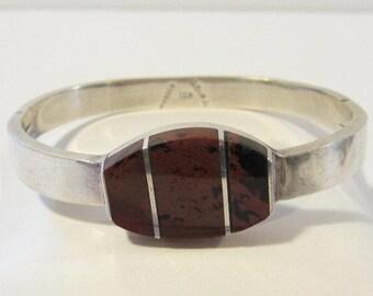 Vintage Mexican Sterling silver Bloodstone Bangle Bracelet