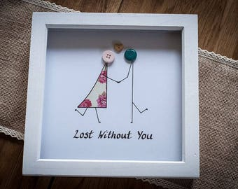 Lost Without You Button Couple Picture 20x20 cm