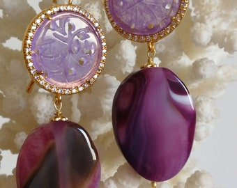 Jade Earrings engraved with zircons, gemstone earrings Purple Agate