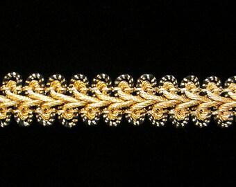 "626 Metallic gimp trim - ""Ram's Horn"" bright gold with black - 1/2"" (13mm), bright gold gimp, bright gold braid, black gold metallic trim"
