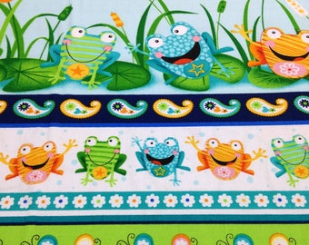 Frogs butterfly flowers lily pad pond fabric, toad ally terrific by Swizzle Stick Studio, green, blue turquoise, coordinate fabrics pictured
