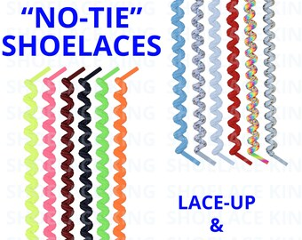 Curly NO-TIE Shoelace Laces - Lace Your Shoe and Never Tie Again! Great for Kids & Adults! 10+ Beautiful Colors/Designs!